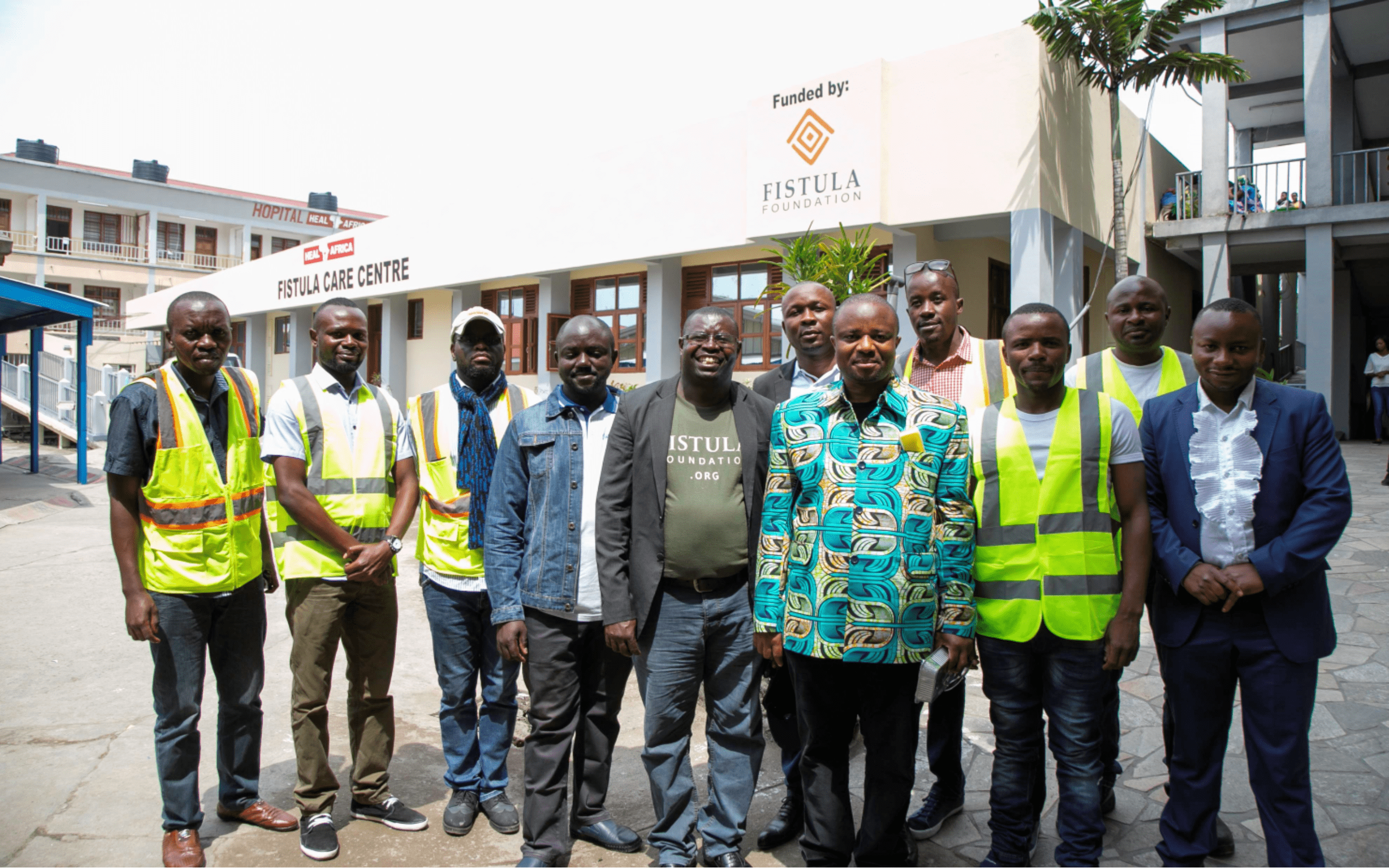 Construstion crew in front of newly built fistula ward