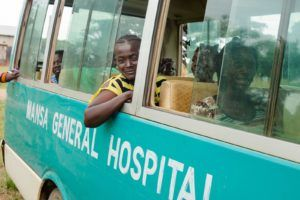 Fistula patients on a bus to receive care