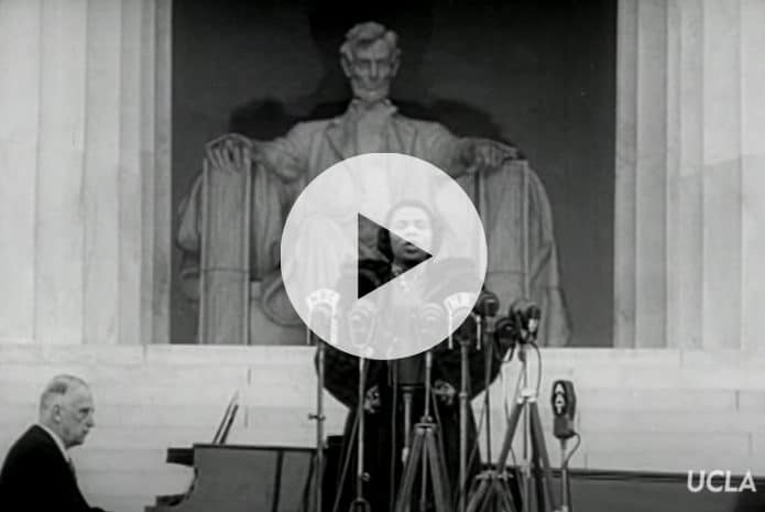 Click to watch: Marian Anderson singing at the Lincoln Memorial